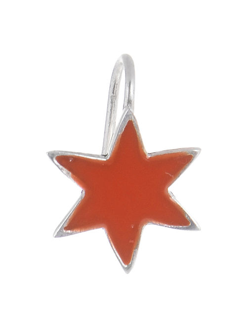 Star Orange Enameled Silver Nose Clip