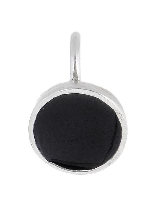 Circular Black Enameled Silver Nose Clip