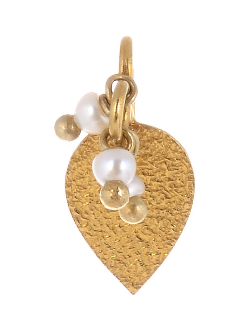 Leaf Gold-plated Pearl Drop Silver Nose Clip