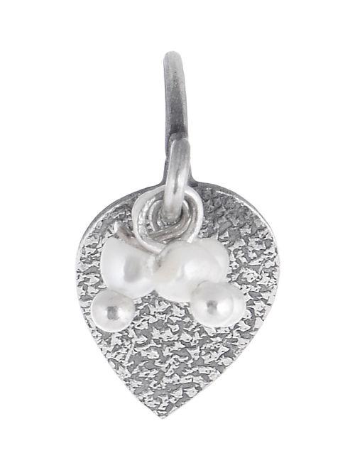 Leaf Pearl Drop Silver Nose Clip