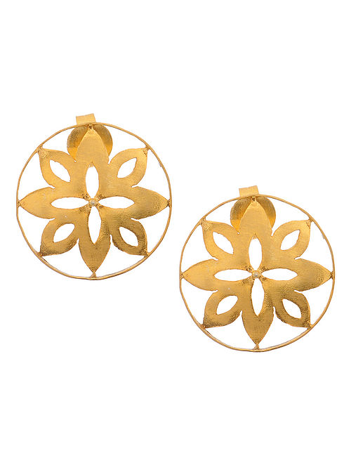 Classic Gold Tone Silver Earrings with Floral Motif