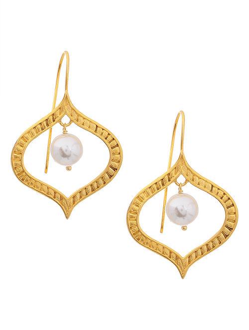 Classic Gold Tone Pearl Drop Silver Earrings