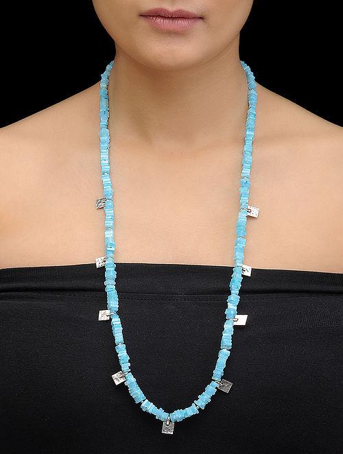 Hemimorphite Beaded Silver Necklace