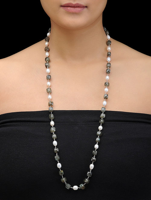 Labradorite and Pearl Beaded Silver Necklace