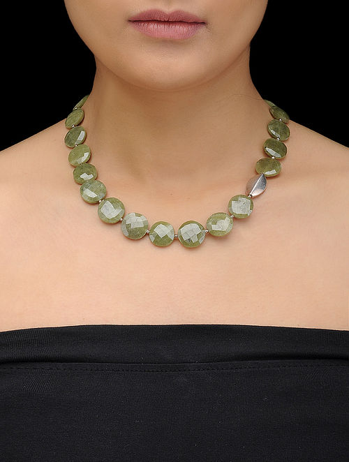 Idocrase Beaded Silver Necklace