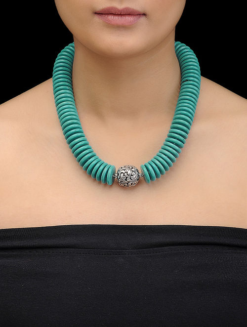Howlite Beaded Silver Necklace