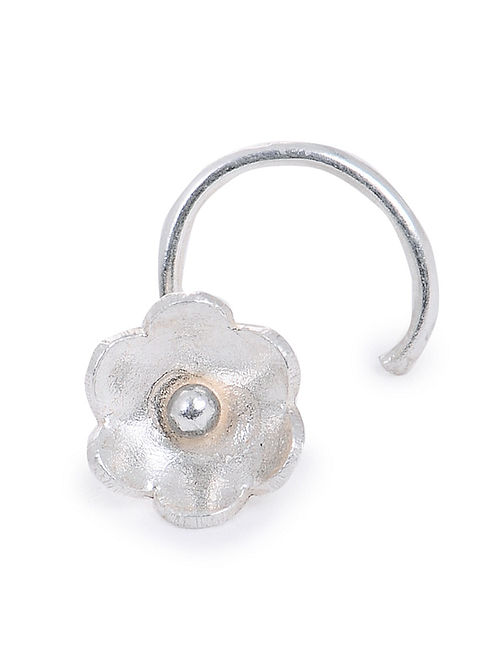 Classic Silver Nose Pin with Floral Design