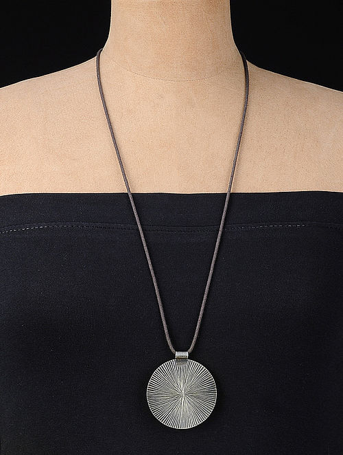 Grey Thread Necklace with Leaf Motif on Silver Pendant