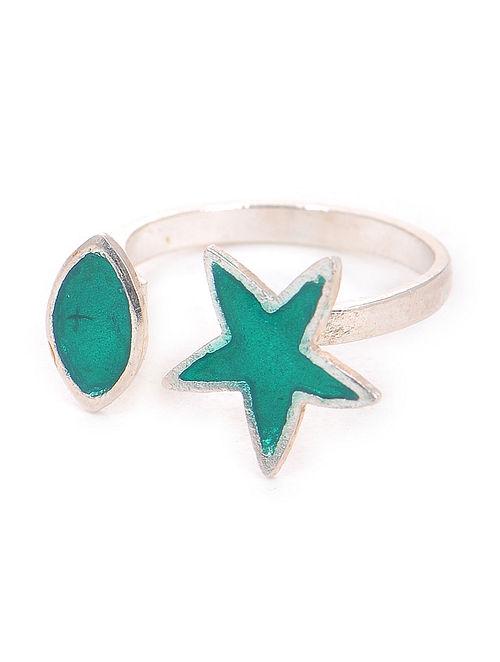 Green Enameled Adjustable Silver Ring