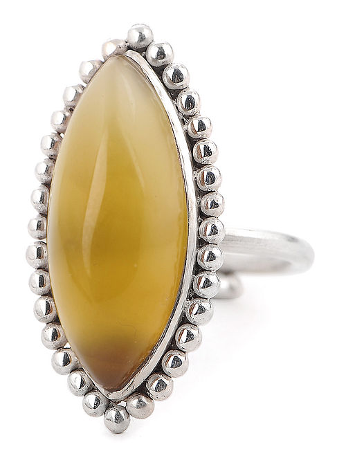 Yellow Chalcedony Silver Adjustable Ring