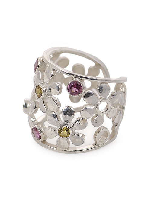 Tourmaline Adjustable Silver Ring