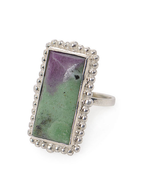 Ruby Ziosite Adjustable Silver Ring