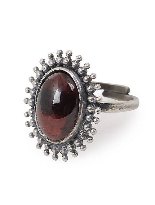 Garnet Adjustable Silver Ring