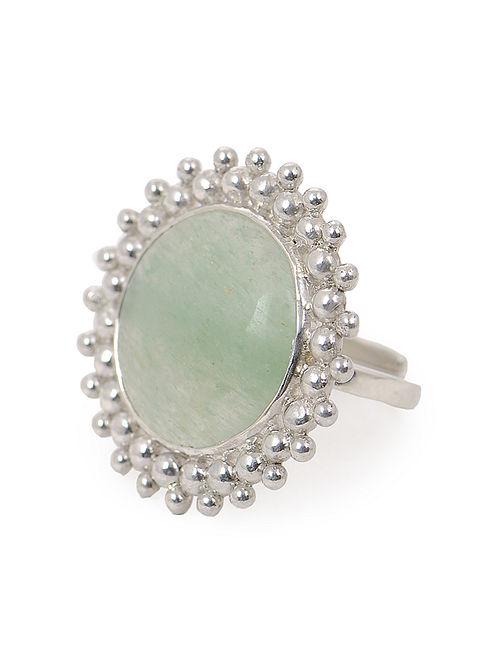 Jade Adjustable Silver Ring