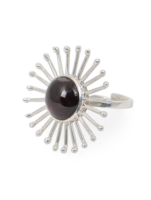 Garnet Adjustable Silver Ring