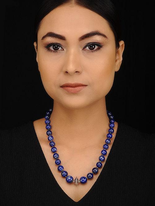 Lapis Lazuli Beaded Silver Necklace