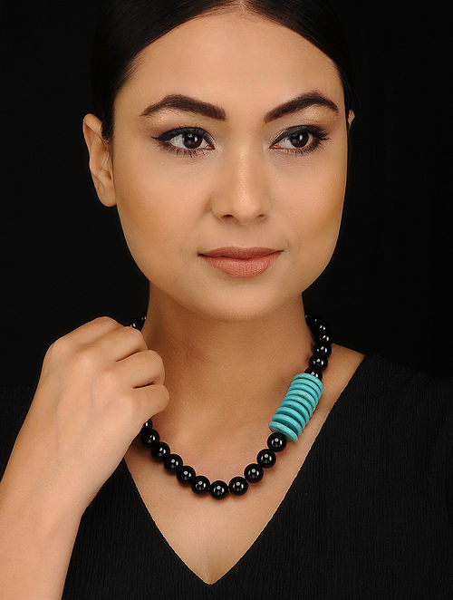 Black Onyx and Howlite Beaded Silver Necklace