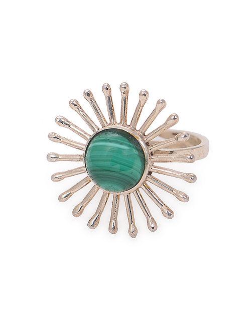 Malachite Adjustable Silver Ring