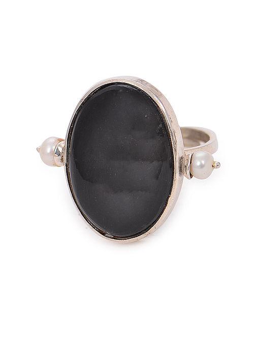 Black Chert Adjustable Silver Ring
