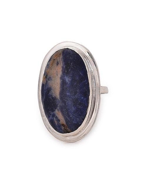 Sodalite Adjustable Silver Ring
