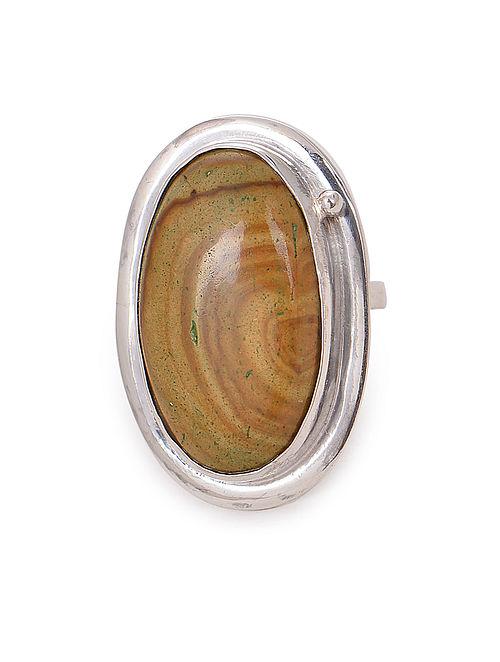 Jasper Adjustable Silver Ring