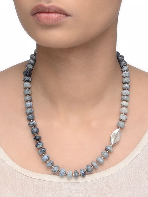 Jasper Beaded Silver Necklace