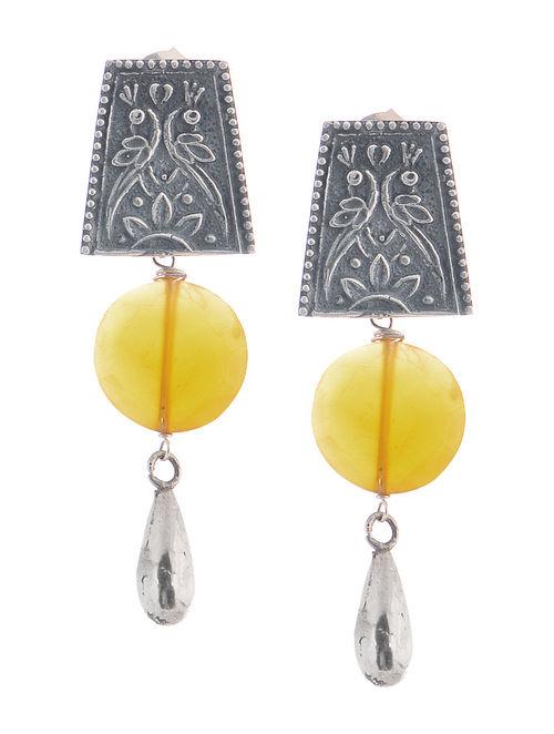 Chalcedony Tribal Silver Earrings