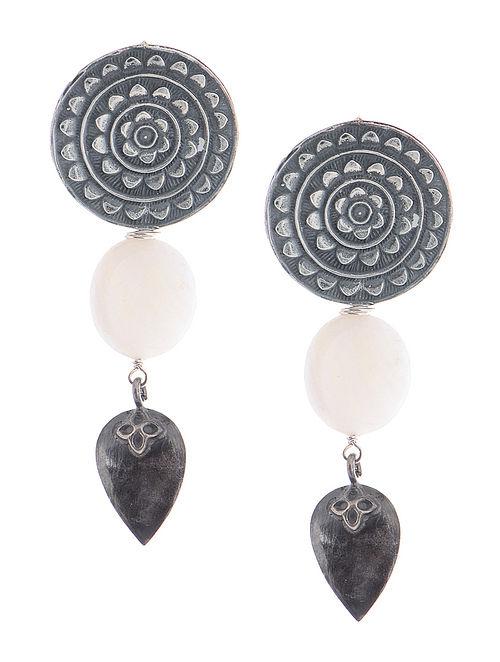 Mother of Pearl Tribal Silver Earrings