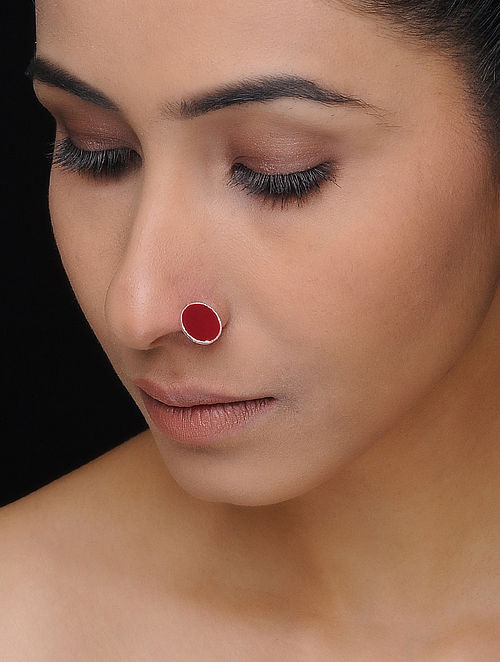 Maroon Enameled Silver Nose Pin
