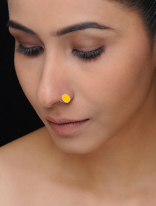 Yellow Enameled Silver Nose Pin