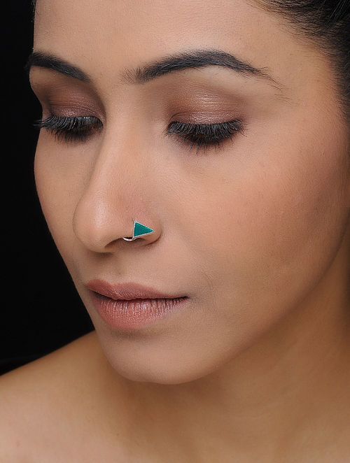 Green Enameled Silver Nose Pin