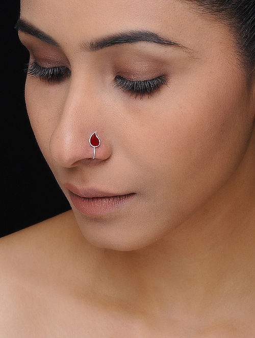 Maroon Enameled Silver Nose Clip with Paisley Design