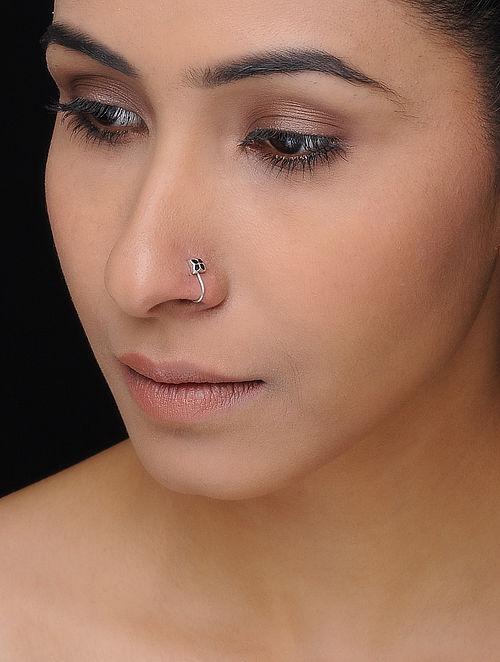 Black Enameled Silver Nose Clip