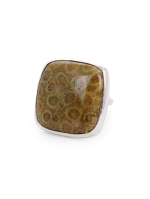 Fossil Coral Adjustable Silver Ring