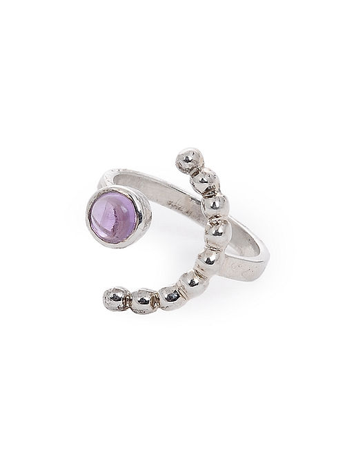Amethyst Adjustable Silver Ring