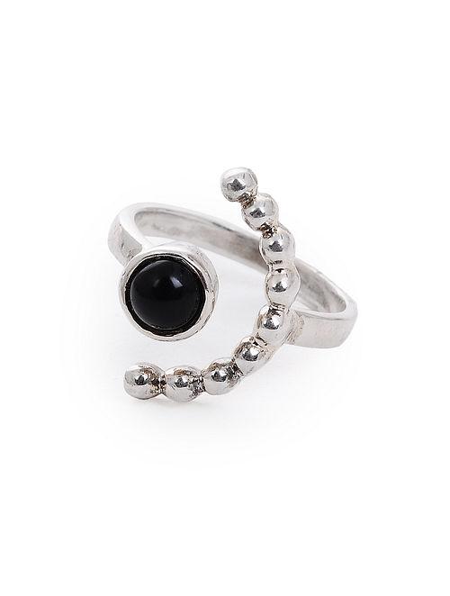 Black Onyx Adjustable Silver Ring