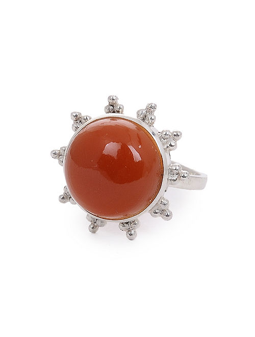 Red Onyx Adjustable Silver Ring