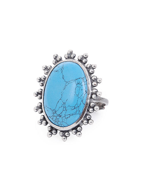 Howlite Adjustable Silver Ring