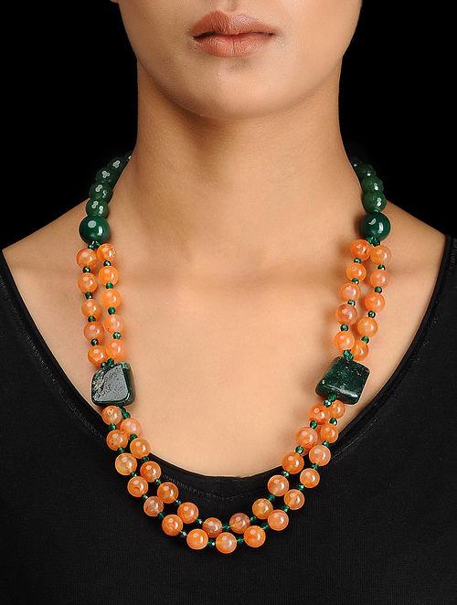Carnelian and Aventurine Beaded Silver Necklace