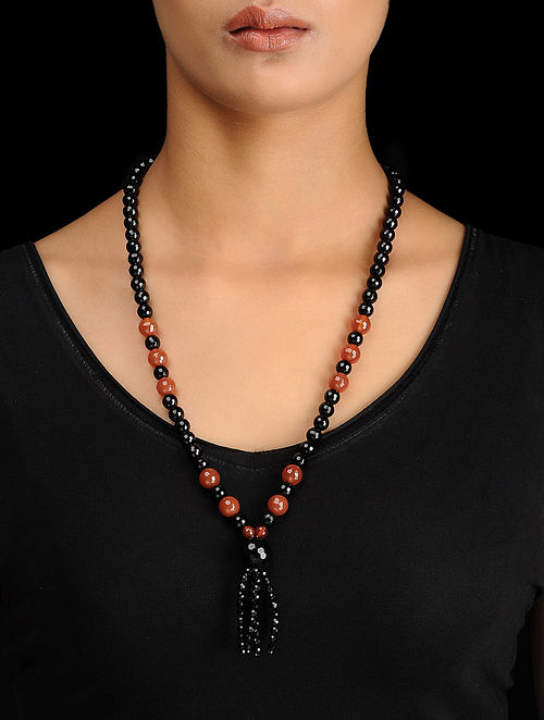 Red-Black Onyx Beaded Silver Necklace