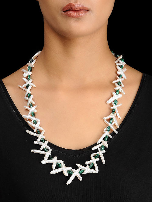 Mother of Pearl and Malachite Beaded Silver Necklace