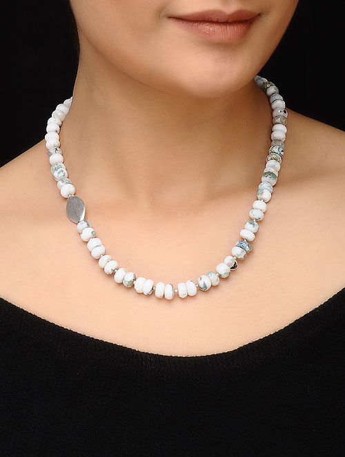 Moss Agate Beaded Silver Necklace