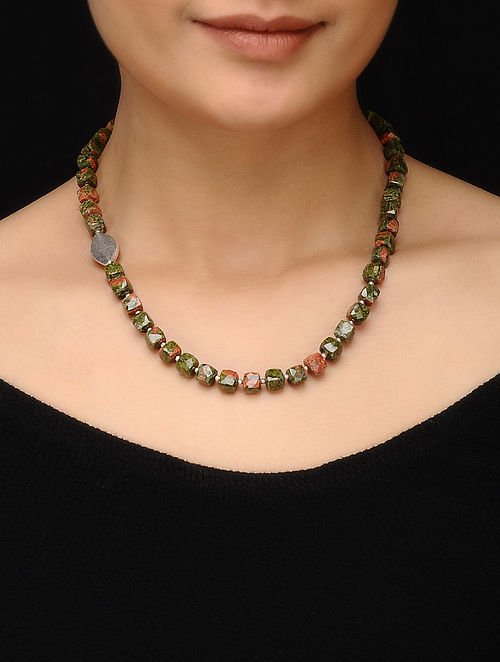 Unakite Beaded Silver Necklace