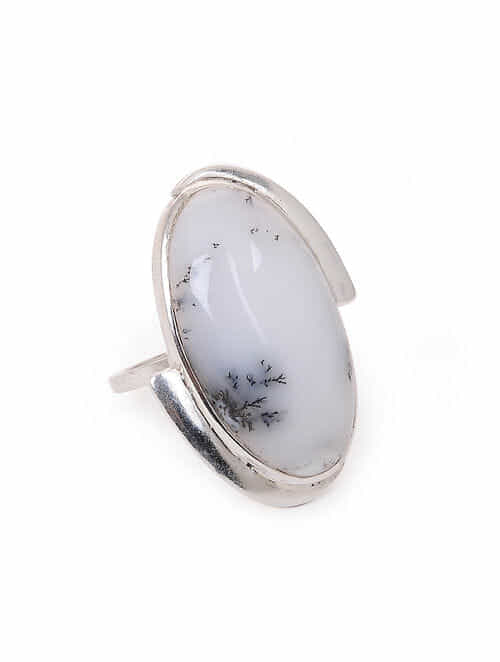 Dendrite Silver Adjustable Ring