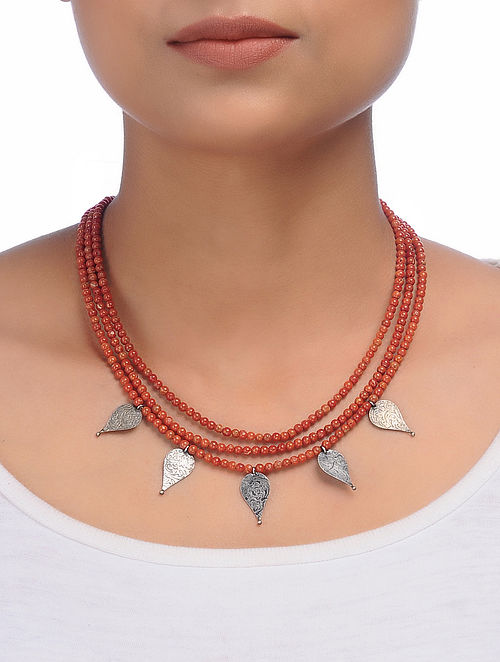 Coral Beaded Silver Necklace