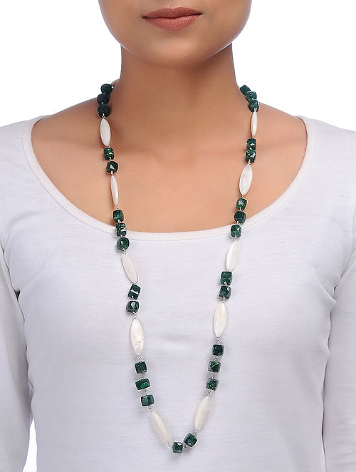 Aventurine and Mother of Pearl Beaded Silver Necklace