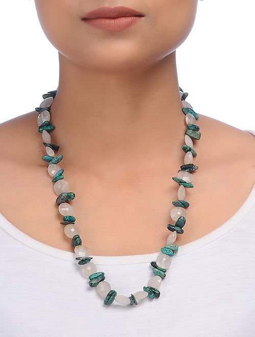 Rutile Quartz and Turquoise Beaded Silver Necklace
