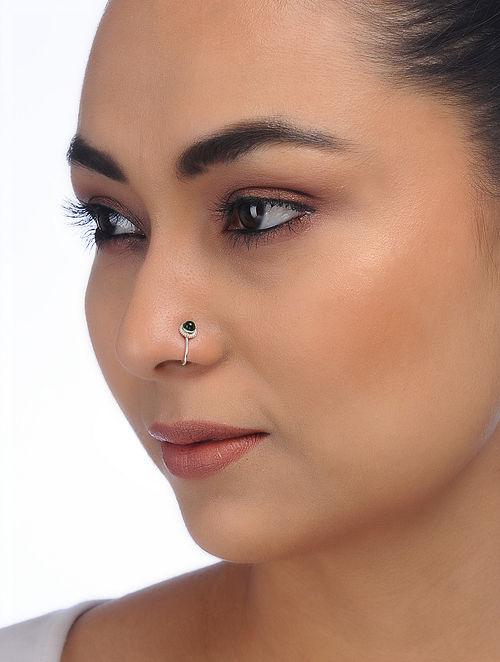 Green Silver Nose Clip