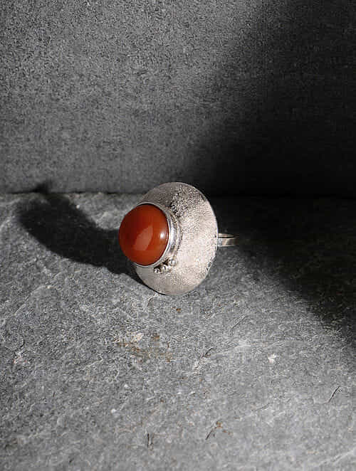Red Onyx Silver Adjustable Ring