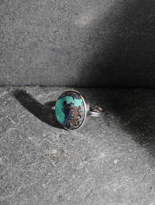 Chrysocolla Silver Adjustable Ring